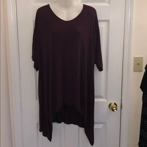Hi low tunic style solid color cotton shirt
